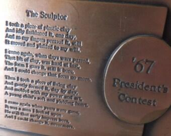 "1967 President's Contest Copper Bookend. A Copper ""The Sculptor"" Poem Shelf Sitter. Raising a Child Library or Desk Accessory"