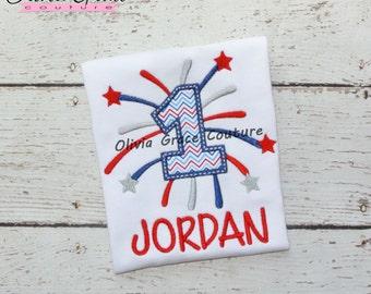 Boys or girls 4th of July Shirt, Patriotic Firework Shirt, 1st 4th of July Boys shirt, Embroidered Applique Shirt or Bodysuit