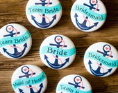 2.25 Inch, Nautical Theme, Wedding Pins, Aqua and Coral, Navy Anchor, Bride's Crew, Groom's Crew, Large Custom Button, Hens Night Badges