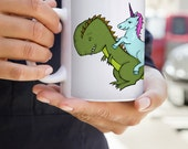 Unicorn Riding a Trex! Mug | Dinosaur | Unicorn | Psychedelic