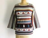 Vintage 1970s Sweater Geometric Stripe Knit Top Jumper Bell Sleeve