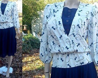 45% OFF 80s Dress in Navy and White, Vintage Dress, Vintage Costume, Secretary Dress with Bow Print Bodice by Jamie Size 8-12
