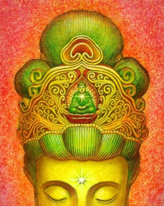Buddha art poster print Goddess KWAN YIN spiritual meditation Zen Buddhist Buddhism artwork by Sue Halstenberg