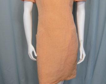 Lutz Teutloff soft apricot Linen Viscose Designer dress size 8 Dry cleaned On Sale