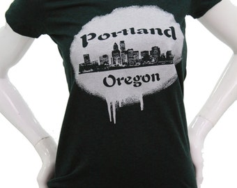 Portland skyline| Women's soft lightweight T shirt| Oregon Hometown pride| Graffiti| art by Matley| Gift for her| state pride| Slim cut tee.