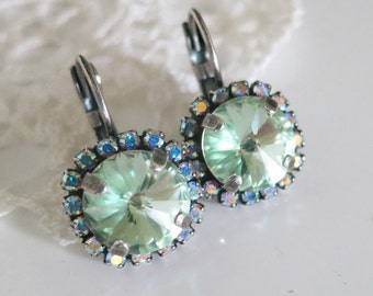 Boucles d'oreilles Strass et cabochons en Cristal Chrysolite, Crystal Mint Earrings,Mint Bridal Earrings,Swarovski Earrings AB Mint Halo