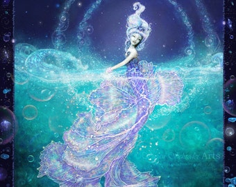 Radiance from Deepest Dark by Susan Schroder - Mythic Mermaid fine art print