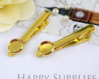 2pcs Nickel Free Golden Tie Clip With 12mm Round Pad (XJ165-G)