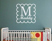 Initial with Name monogram wall decal, letter and name decal, scallop frame, bedroom decor, baby girl nursery, vinyl lettering (W00923)