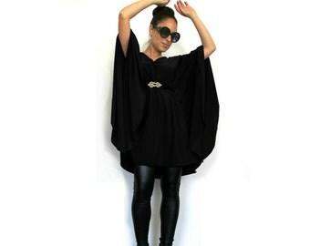 Black 'Jackie O' Tunic Top- Long sleeve women blouse, Long Maternity blouse, Plus size shirt