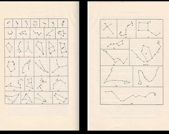 1977 CONSTELLATIONS STAR SHAPES original vintage celestial astronomy lithographs - set of two prints