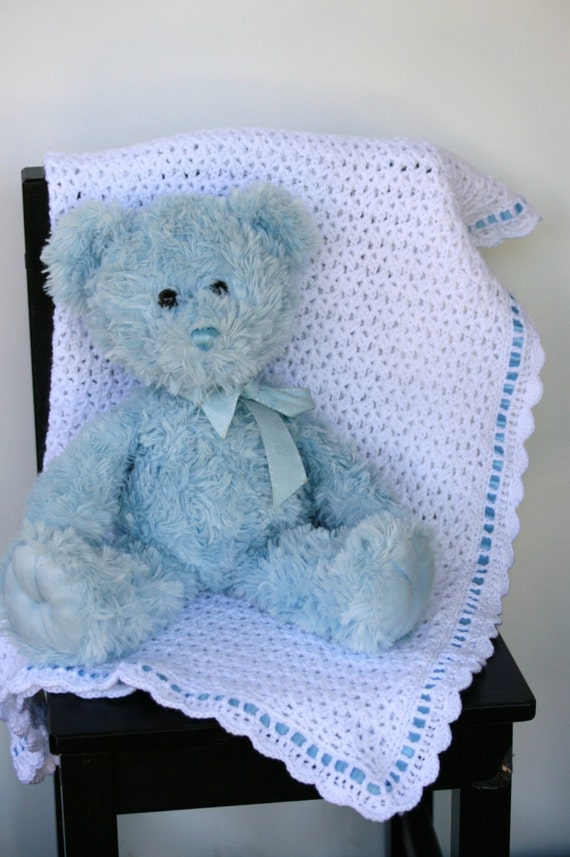 INSTANT DOWNLOAD PATTERN Crochet Ribbon Heirloom Baby Blanket