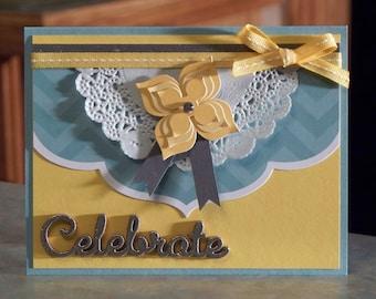 "Handmade Greeting Card - 4.25"" x 5.5"" - Celebrate, Congrats or Thanks Embossed Wood Embellishment - Birthday - Anniversary - Graduation"
