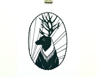 stag art print, papercut print