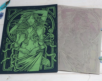 Dame Terres Electrique - Flouresent Green Block Print