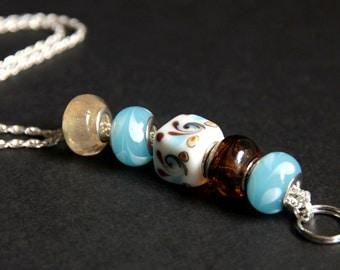 Badge Lanyard. Beach Blue ID Lanyard. Blue and Brown Badge Necklace. Beaded Badge Holder. Handmade Teacher Lanyard. Lampwork Glass Lanyard.