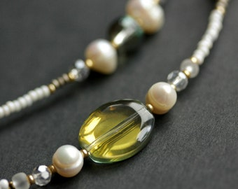 Badge Necklace or Eyeglass Leash. Taupe Lanyard. Pearl Eyeglass Chain. Badge Lanyard. Eyeglass Holder. Beaded Lanyard. Badge Holder.