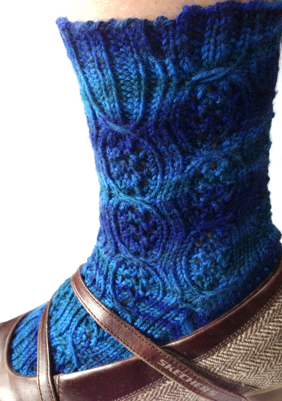 Knit Sock Pattern Knit Pattern PDF Lace Socks Cables by KnittyVet