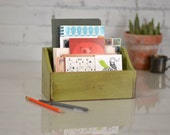 Wooden Desktop Box - Handmade Teachers Desk Organizer - Back to School - Can Be Any Color - PERSONALIZE with Name if Desired
