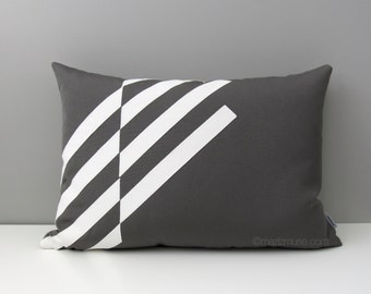 Modern Grey & White Outdoor Pillow Cover, Decorative Pillow Cover, Geometric Sunbrella Cushion Cover, Masculine Pillow Covers, Mazizmuse