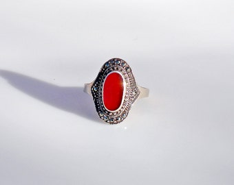 Vintage Tribal Sterling Silver Carnelian Ring - Size 10