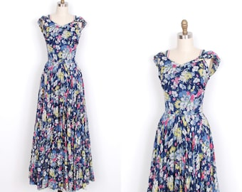 Vintage 1930s Dress / 30s Silk Floral Evening Gown / Navy Blue (XS extra small)