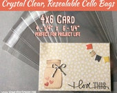 """4x6 - 100 Crystal Clear Cello Bags, A Size 4x6 +, 4 1/4"""" x 6 1/4"""", Resealable Clear Plastic Sleeves, Acid Free Envelopes for Journal Cards"""