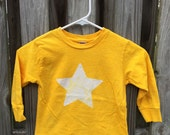Yellow Star Shirt (4T), Kids Star Shirt, Batik Star Kids Shirt, Boys Star Shirt, Girls Star Shirt, Golden Star Shirt, Long Sleeve Shirt