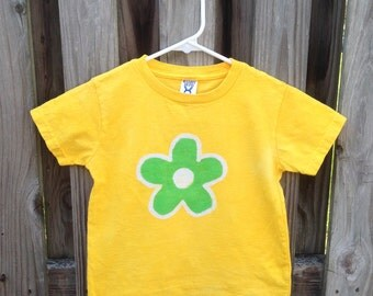 Flower Girls Shirt, Kids Flower Shirt, Yellow Flower Shirt, Green Flower Shirt, Girls Flower Shirt, Batik Kids Shirt (4/5)