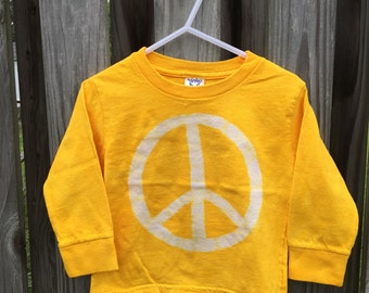 Peace Sign Shirt, Kids Peace Sign Shirt, Boys Peace Sign Shirt, Girls Peace Sign Shirt, Yellow Peace Sign Shirt, Batik Kids Shirt (2T)