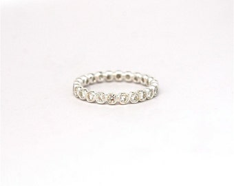 Diamond Ring - Eternity Stacking Ring Recycled Sterling Silver - Handmade Wedding - Anniversary Band - Eternity Band - April Birthstone Ring