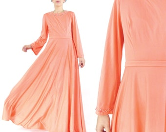 50% OFF SALE 60s 70s Coral Pink Evening Gown Beaded Maxi Dress Long Sleeve Gown Formal Full Skirt Dress Wide Bell Sleeves Dress (XS/S)