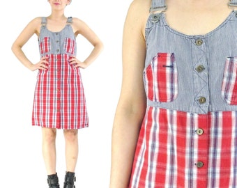 50% OFF SALE 90s Denim Mini Dress 90s Grunge Plaid Dress Denim Overalls Sleeveless Button Down Front Denim Dress Overall Babydoll Dress (M)