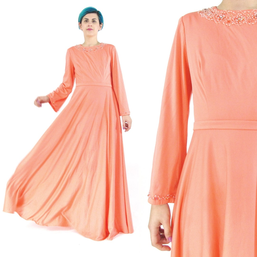 50% OFF SALE 60s 70s Coral Pink Evening Gown Beaded Maxi Dress