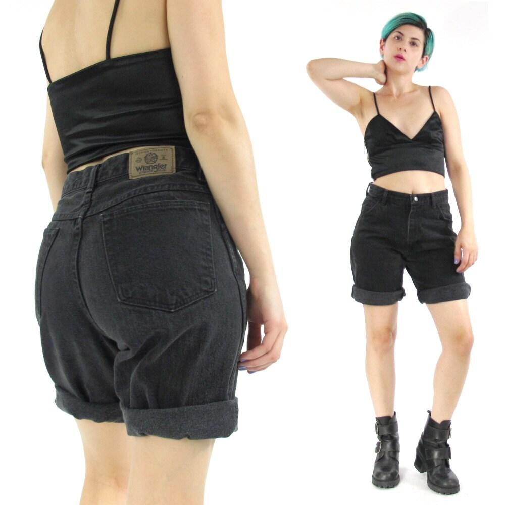 Vintage Wrangler Jean Shorts 80s Black Jean Shorts Black Denim