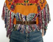 vintage GUATEMALAN long FRINGE HUIPIL / old hand-embroidered cropped blouse cape, poncho, osfm