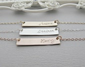 minimalist Necklace, Gold Bar Necklace, Gold Nameplate Necklace, Engraved Necklace, Personalized, Necklace, Bar Necklace, Gold Necklace