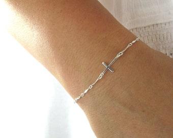 cross bracelet, silver cross bracelet, sideways cross bracelet, silver cross bracelet, cross bracelet, silver sideways cross bracelet