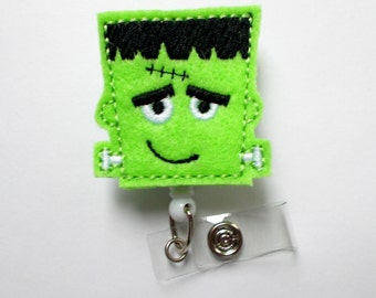 GreenMonster - Retractable ID Badge Reel - Name Badge Holder - Nursing Badge - Nurse Badge Holder - Nursing Badge Clip - Felt Badge