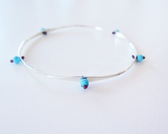 Five Eyes // Hammered Bangle with Turquoise beads // Boho Grecian Chic