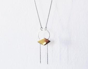 Kite Silver Necklace  // silver chain, brass, dark elegant, simple casual