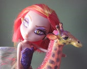Giraffe Faerie OOAK Recycled Hand Painted Art Doll Makeover