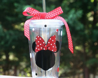 Personalized Minnie Mouse 16oz Insulated cup with polka dots