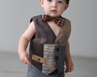 Little boys vest, vintage look vest, kids photo prop,  Boys Wedding vest, recycled suit coat vest, Boys clothing, Boys Dress Clothing