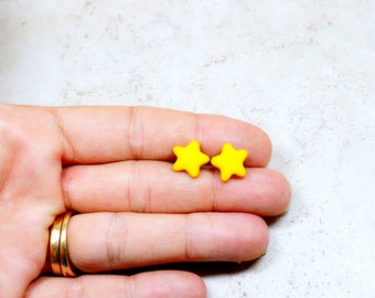 Yellow Star Earrings, Bright Yellow Studs, Celestial Night Sky Jewelry, Constellation Earrings