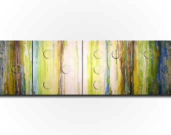 Original Large Abstract Braille painting - 20 X 64 Inches-by Artist JMJartstudio- HOPE -Wall art-wall decor - Brown and green custom