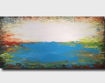 Original Large Abstract painting - 24 X 48 Inches-by Artist JMJartstudio-Above All-Wall art-wall decor - Blue painting-Oil painting- Beach