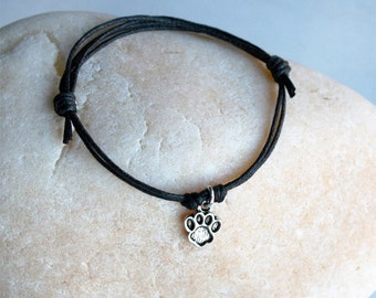 Paw Print Bracelet, Paw Print Anklet (many colors to choose)