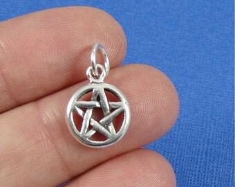 Pentacle Charm - Sterling Silver Pentacle Pentagram Charm for Necklace or Bracelet