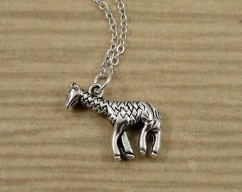 Giraffe Necklace, Silver Giraffe Charm on a Silver Cable Chain